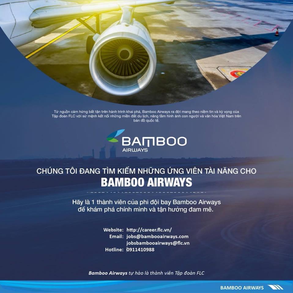 Tuyển dụng tiếp viên hàng không Bamboo Airways tháng 09/2019